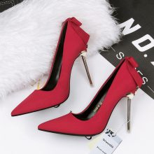 2018 Woman Extreme 10cm High Heels Scarpins Pumps Stiletto Green Shoes Female Flock Velvet Pointed Toe Fetish Metal Tacons Heels
