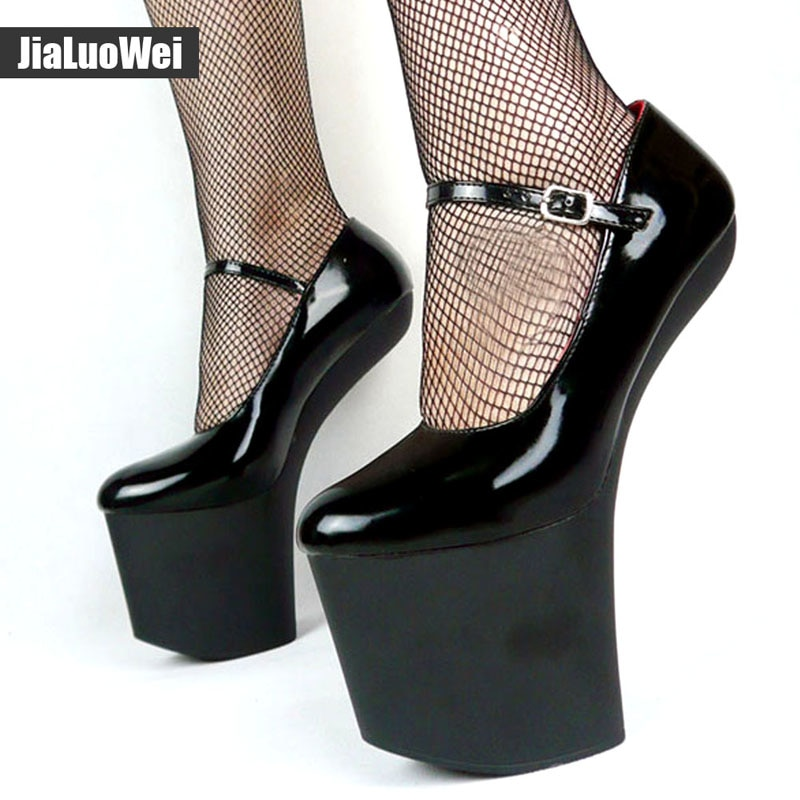 Jialuowei Extreme 8 inch High heels Sexy Fetish Strange Hoof heel Platforms shoes Costume Corset Goth No-Heel pumps for Women
