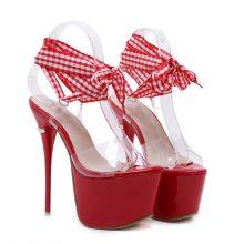 GBHHYNLH Women Sandals Gladiator Party Ankle Strap heels transparent sandals Fetish High heel Pumps lace up Sandals LJA374