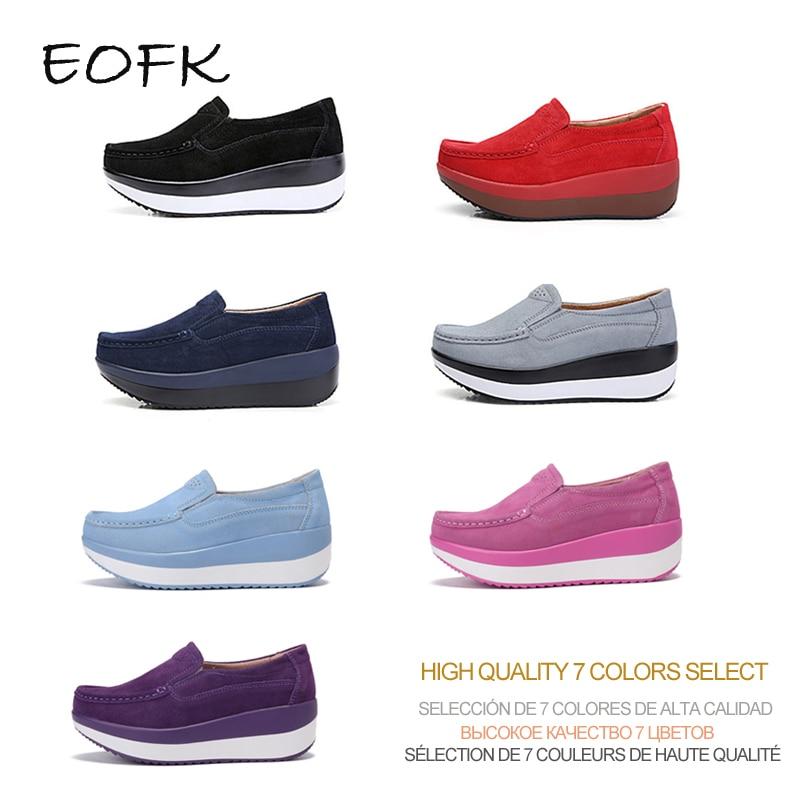EOFK Women Flats Platform Loafers Ladies Elegant Genuine Leather Moccasins Shoes Woman Autumn Slip On Casual Women's Shoes