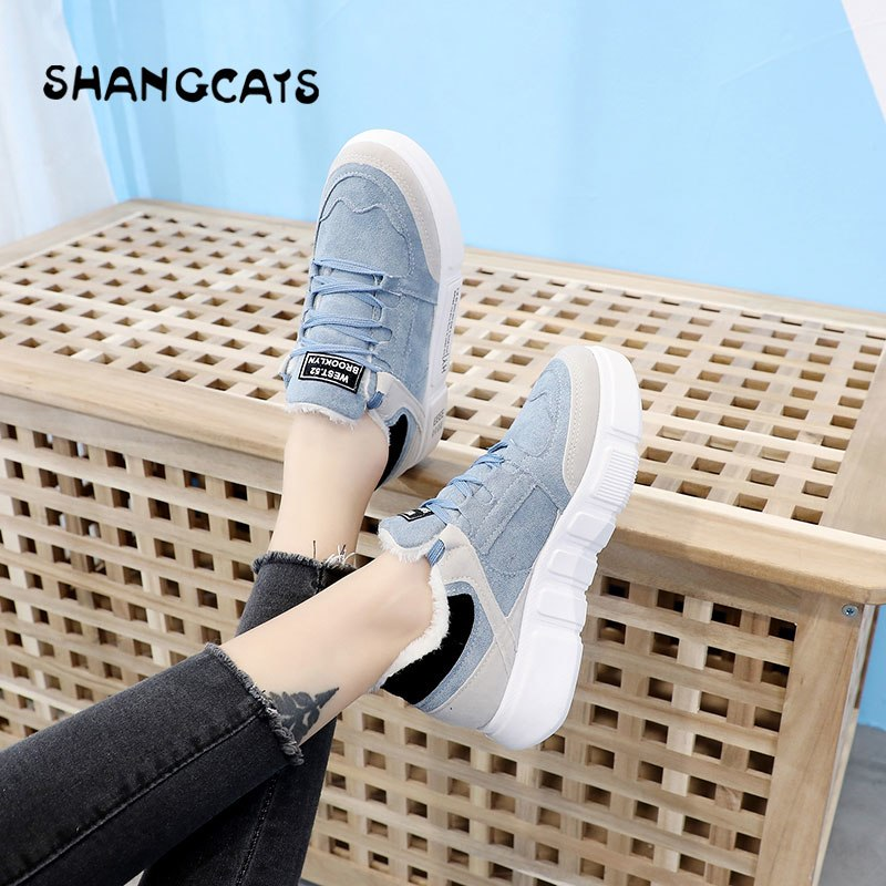women flat plush inside winter shoes pink blue designer shoes fashion trend 2019 new canvas female footwear super comfortable
