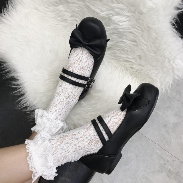 XJRHXJR New Spring Womens Mary Jane Lolita Bowtie Flat Heel Sweet Bowtie Shoes Gilrs Cosplay Black White Pink Dress Shoes