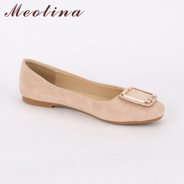 Meotina Shoes Women 2018 Ballet Flats Spring Buckle Crystal Casual Flat Shoes Square Toe Boat Shoes Size 34-43 Pink Yellow Beige