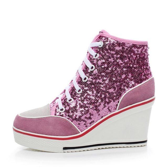 Women's Genuine Leather Shoes 2019 Autumn 8cm Wedges Shoes for Women High Top Platform Sneakers Pink Glitter Shoes Ladies