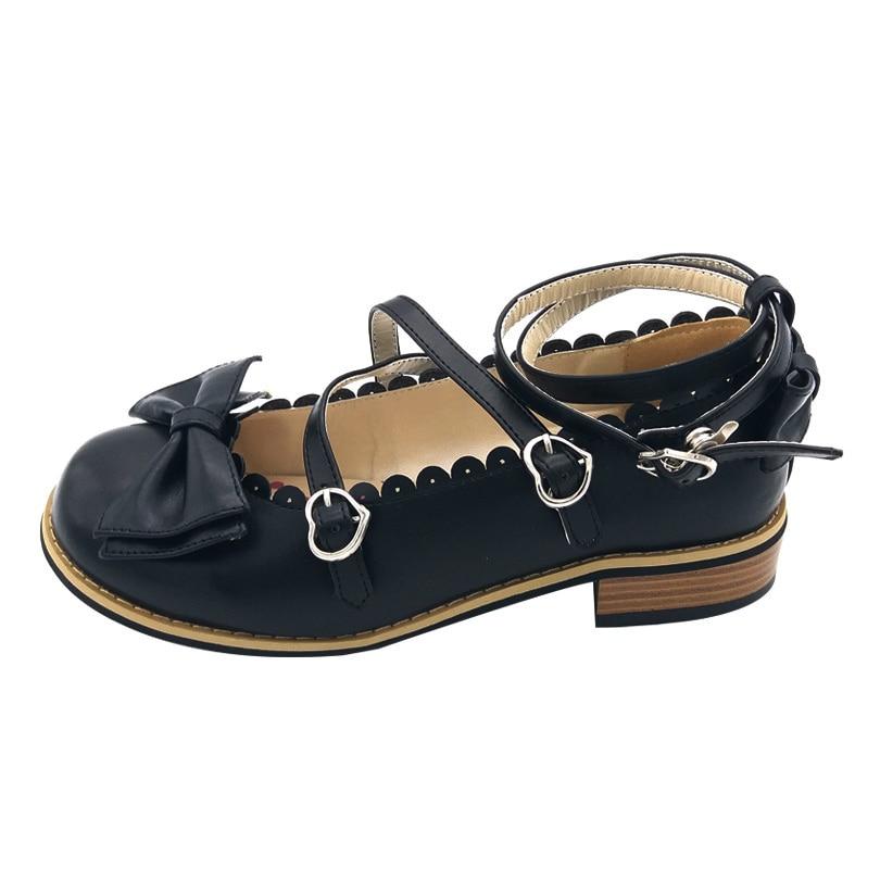 LIN KING Bowtie Women Low Heels Pumps Fashion Low Square Heels Buckle Straps Cosplay Maid Shoes Kawaii Princess Lolita Shoes