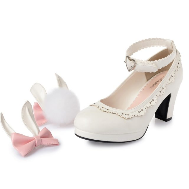 Sweet Princess Party Shoes Solid Leather Women Pumps Cosplay Rabbit Thick Heels Buckle Straps Round Toe Platform Lolita Shoes
