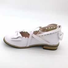Lolita shoes women flats low round with cross straps bow cute girls princess tea party shoes students lovely shoes size 34-41