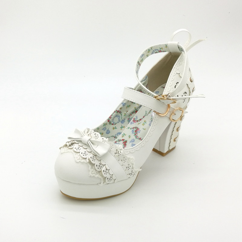 Sweet High Heels Lolita Shoes, Japanese Princess Lace, Bow Tie, Single Women's Heel, Waterproof Table Women Shoes