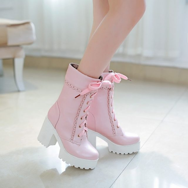 White Black Students Soft Sister Lolita High-heeled Boots Cosplay Lace Lolita Sweet Lady Shoes  Women Ankle Platform Boots