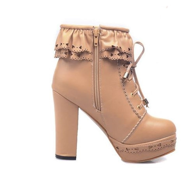 XJRHXJR Women Shoes Japanese Sweet Lolita Boots Lacing Ankle Boot Waterproof Thick High-heeled Female Casual Nude Boots Shoes