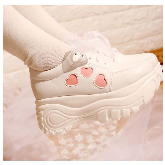 2018 Japanese New Soft Sister Lolita Sweet Lace Love Round Head Princess Girl Student Peach Heart Women's Shoes