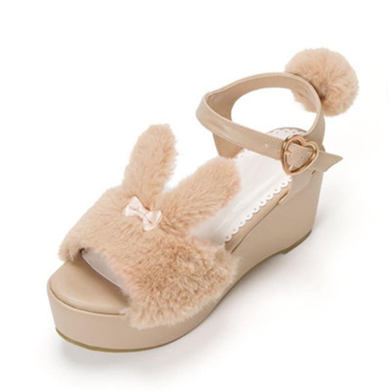 Japan's New Lolita Sweet rabbit Summer Sandals womens Shoes High-heeled Muffin Bottom Thick Lolita shoes Platform Sandals