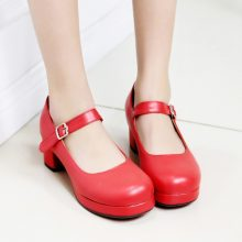 2017 New Ladies Sweet Black Candy Color Womens Mary Janes Pumps Low Heel Lolita Red Bottom Heels For Women Princess Shoes