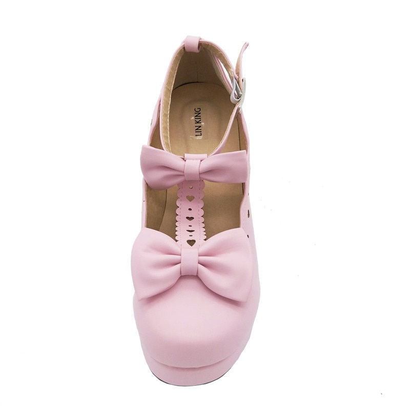 LIN KING Buckle Women Party Pumps Chunky Heels Ankle Straps Bowtie Shallow Mouth Platform Cosplay Maid Shoes Sweet Lolita Shoes