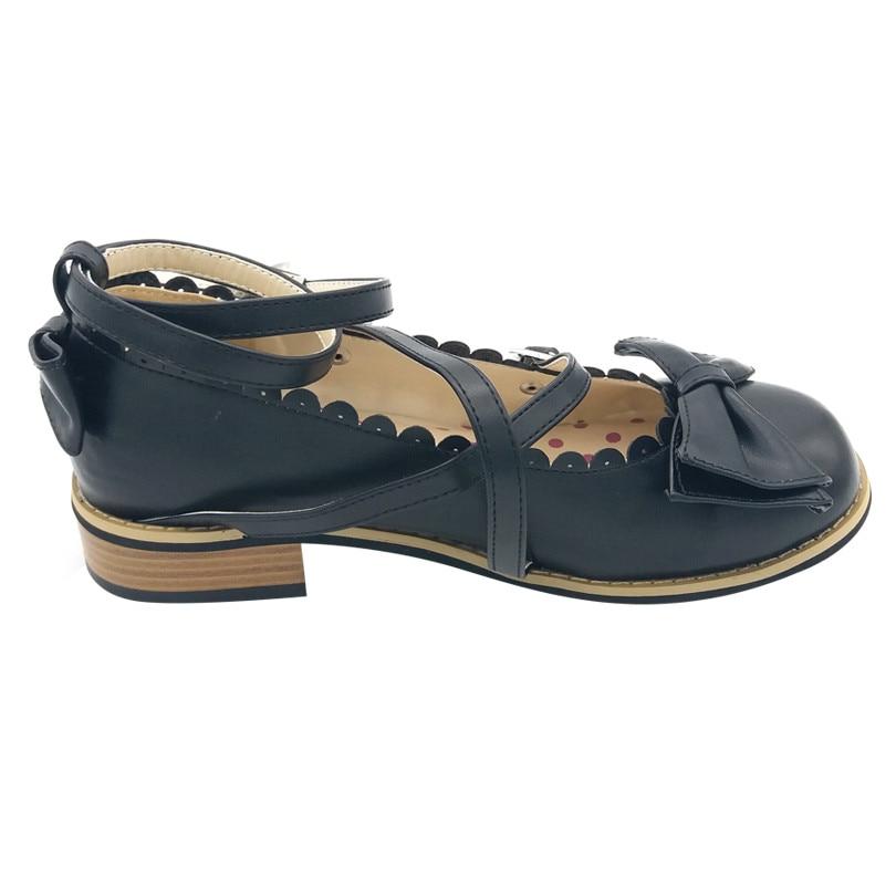 LIN KING New Bowtie Women Low Heels Pumps Fashion Low Square Heels Buckle Straps Cosplay Maid Shoes Kawaii Princess Lolita Shoes