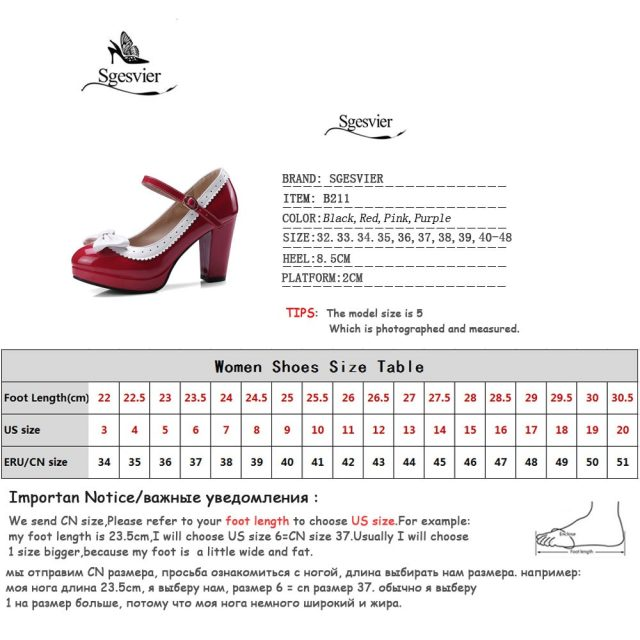 Sgesvier New Autumn Lolita Womens Shoes Bowtie Block Thick High Heels Ankle Strap Mary Jane Pumps Lady Plus Size 32-48 B211