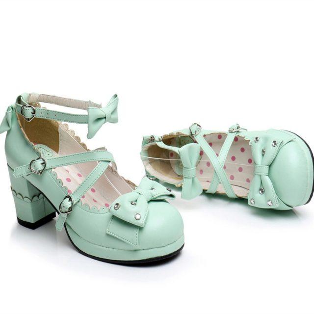 Harajuku Sweet Lolita Cosplay Chunky High Heel Shoes Rhinestone Bow  Princess Shoes