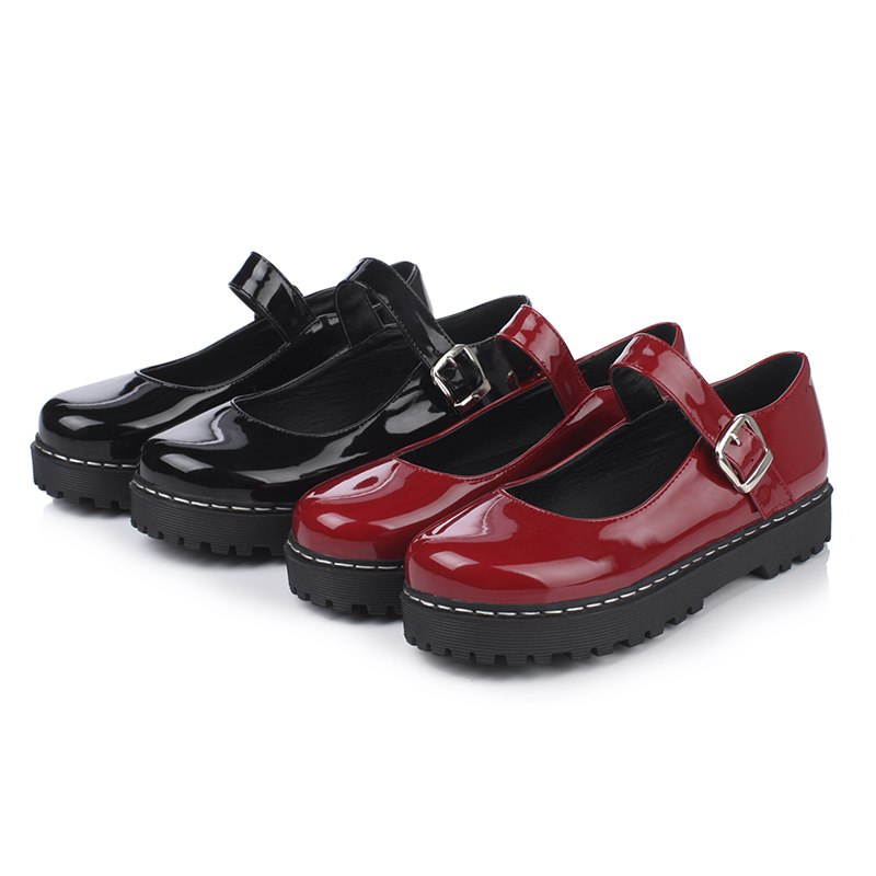 Odetina 2018 New Fashion Platform Mary Jane Shoes Women's Flat Shoes Buckle Strap Sweet Lolita Flats Round Toe Big Size 34-43