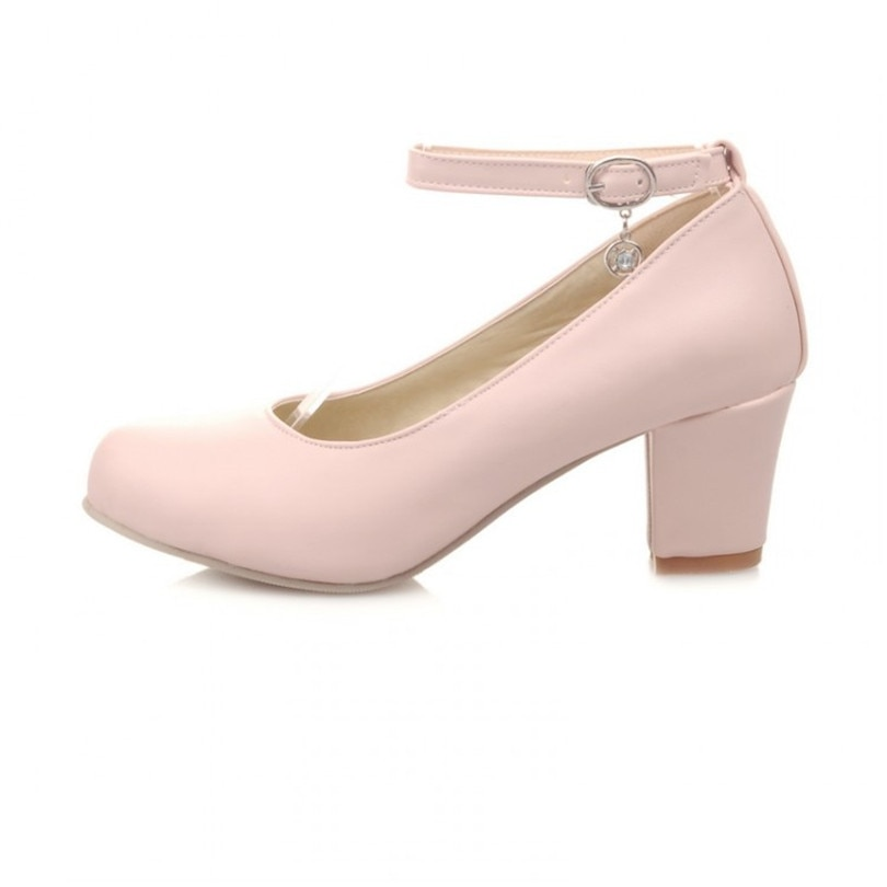 LIN KING Sweet Square Heel Women Pumps Big Size Lady Ankle Strap High Heel Summer Shoes Solid Buckle Cosplay Party Lolita Shoes