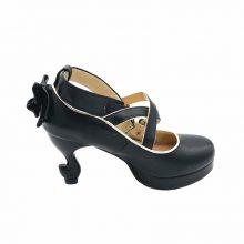 LIN KING Brand Strange Heels Lolita Shoes Cosplay Bowtie Bandage Buckle Straps Women Pumps High Heel Platform Sexy Maid Shoes