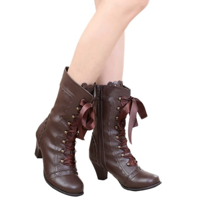 Japanese Style Vintage Royal Court Lolita Boots Lace Up Ribbon High Heels Princess Boots