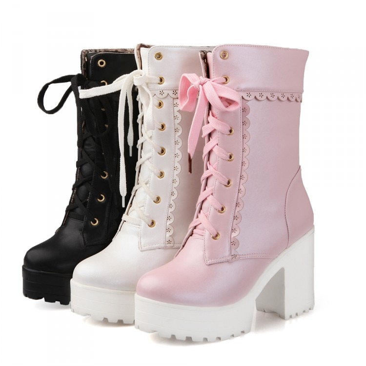 Lolita High Heel Student Shoes Sweet Lady Cosplay Platform Short Boots