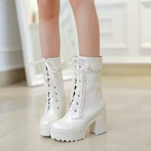 Lolita High Heel Student Shoes Sweet Lady Cosplay Platform Short Boots