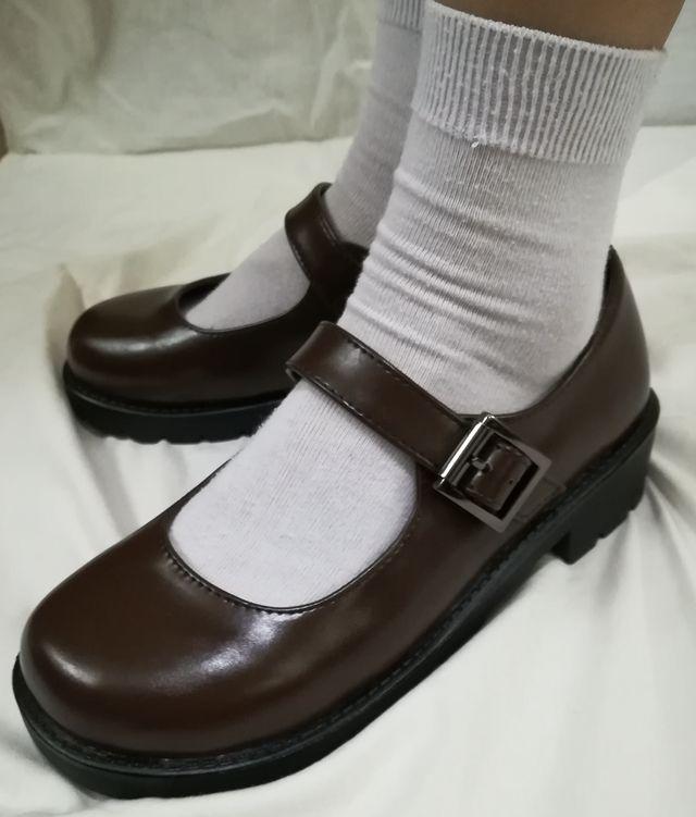 Japanese School Students Uniform Shoes Uwabaki JK Round Toe Buckle Trap Women Girls Lolita Cosplay Med Heels G10