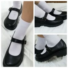 Japanese School Students Uniform Shoes Uwabaki JK Round Toe Buckle Trap Women Girls Lolita Cosplay Med Heels G10