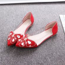 Koovan Women Flats 2018 New Spring Flat Shoes Pointed Soft Bottom Sexy Sandals Fashion Shoes Rhinestone Bows for Girls