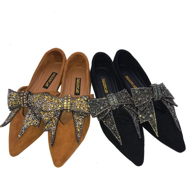 Women Flat 2019 Autumn Flock Leather Shoes Crystal Bow Tie Women Casual Shoes Fashion New Sexy Rhinestone Dress Women Flat Shoes