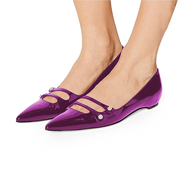 Original Intention 2018 New Comfort Women Flats Sexy Pointed Toe Flat Shoes Black Blue Red Purple Shoes Woman Plus US Size 4-15