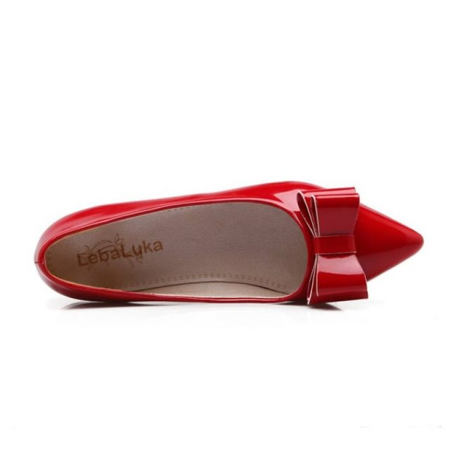LebaLuka Size 30-49 Lady Flats Shoes Women Bowtie Pointed Toe Solid Color Flat Shoe Party Club Sexy Office Lady Daily Footwears