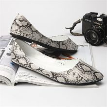 TIMETANG big size 40.41 new 2018 SEXY women pointed toe snake texture pu flat single shoes lady casual shoes C157