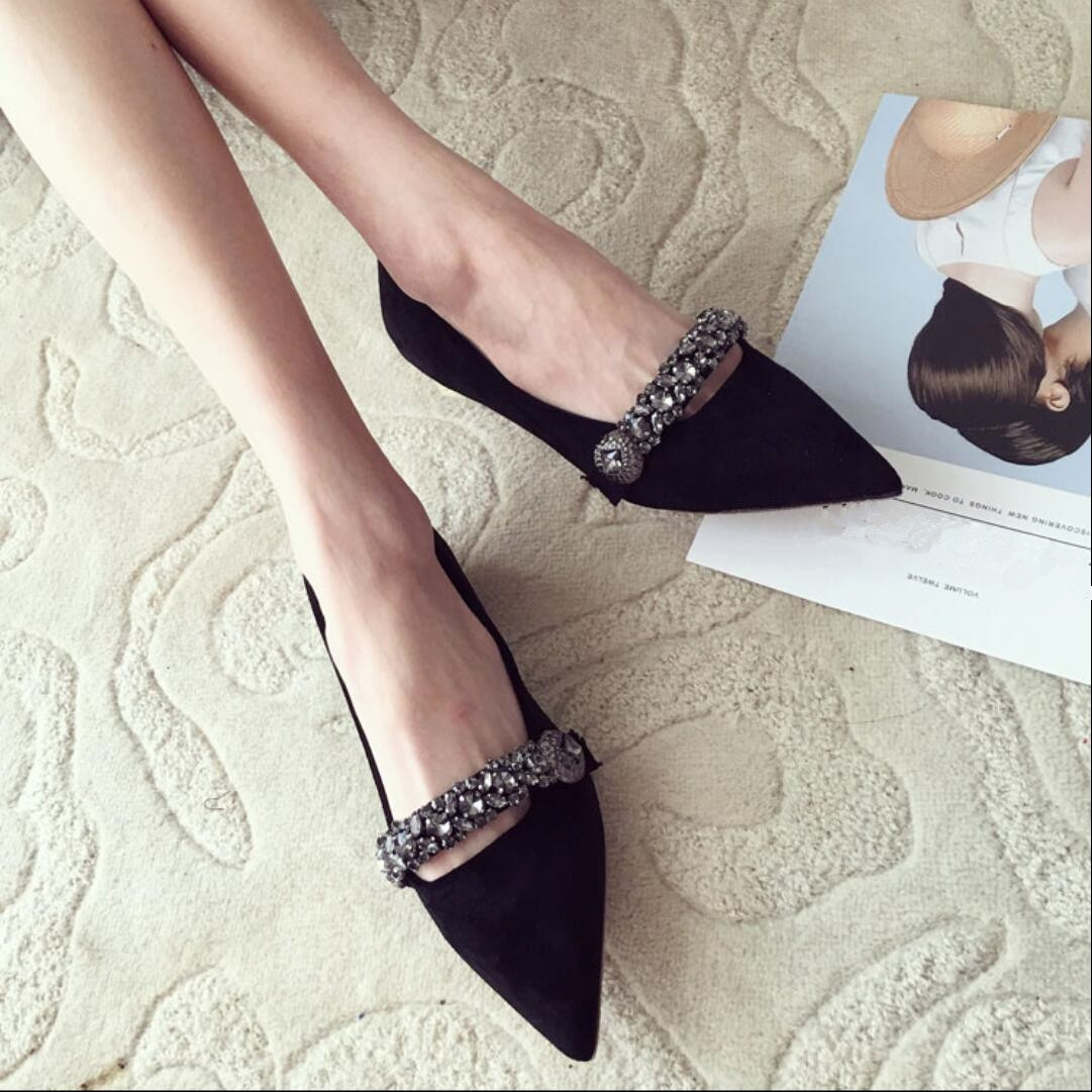 Koovan Women Flats 2018 Spring New Women's Shoes Fashion Diamond Pointed Flat Shoes Shallow Mouth Suede Ladies Sexy Shoe