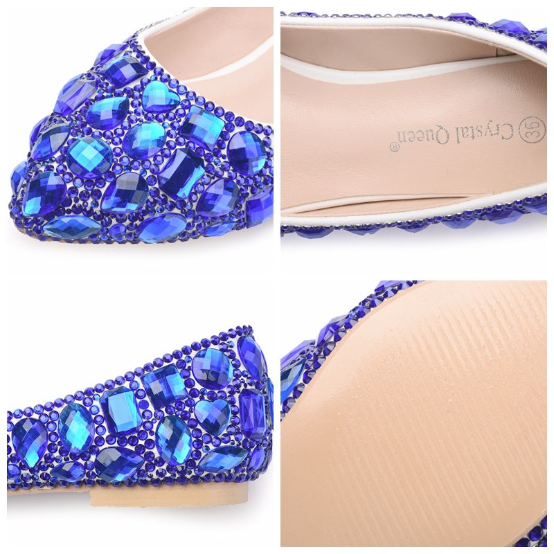 Crystal Queen Rhinestone Crystle Cinderella Shoes Sexy Flat heel Women Shoes Wedding Shoes Flats big size 34-42 Multicolor