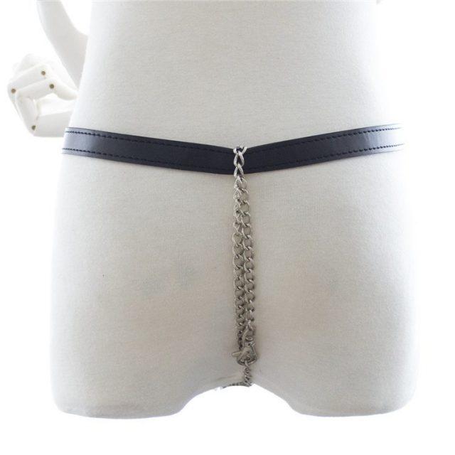 Black Pu Leather Chain Women/men Gay Panty Underwear Fetish Wear Bondage Restraints Lesbian Sexy Lingerie Nightclub Panties