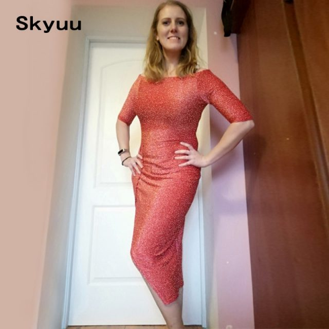 Skyuu Sexy Dress Plus Size Winter Dresses Party Night Club 2018 Autumn Women With Slit Ladies Dress Slash Neck Long Sequin Dress
