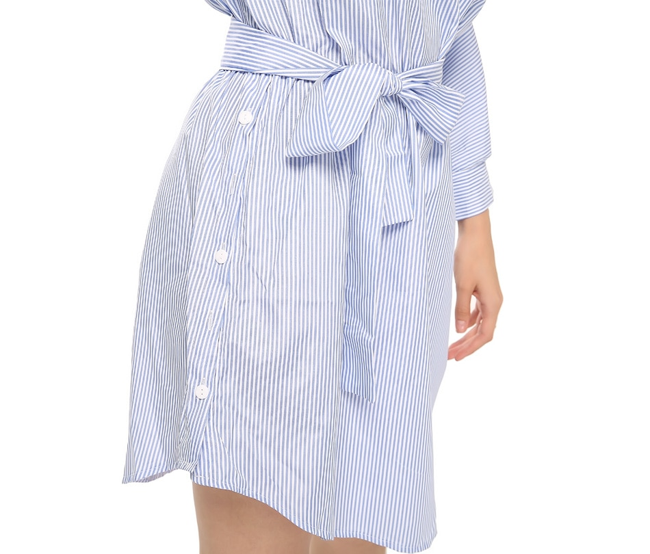 Summer Women Dress Blue Striped Shirt Short Dress Mini Sexy Side Split Half Sleeve Beach Dresses 2018 Plus Size Sundress 3XL