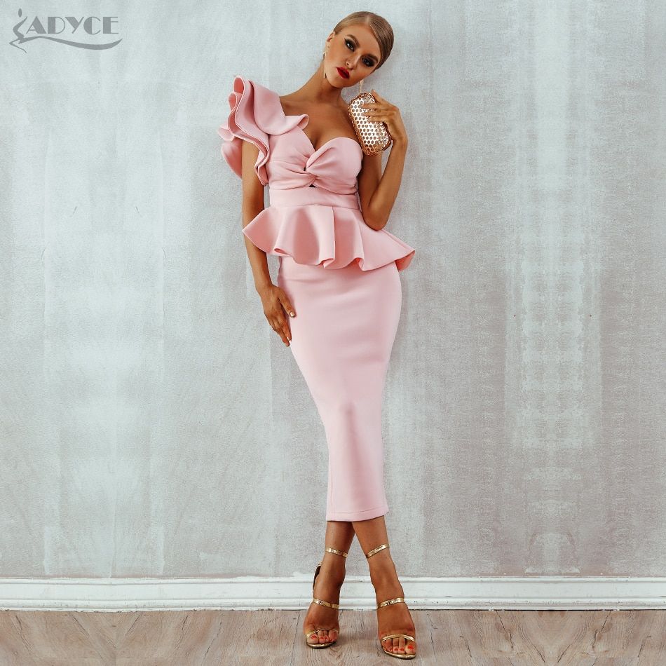 Adyce Celebrity Evening Party Dress Women 2019 Sexy Bodycon Sets One Shoulder Ruffles Short Sleeve Strapless Club Dress Vestidos