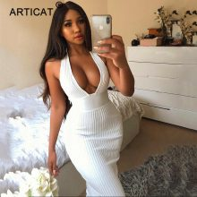 Articat Halter Backless Sexy Knitted Pencil Dress Women White Off Shoulder Long Bodycon Party Dress Elegant Autumn Winter Dress