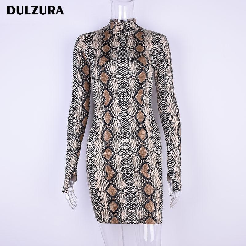 Dulzura strechy snakeskin long sleeve mini dress 2018 summer autumn women snake skin print sexy bodycon party dresses