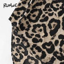 ROMWE Belted Leopard Print Stand Collar Dresses Women Casual Summer New Style Short Sleeve Female A Line Knee Length Sexy Dress