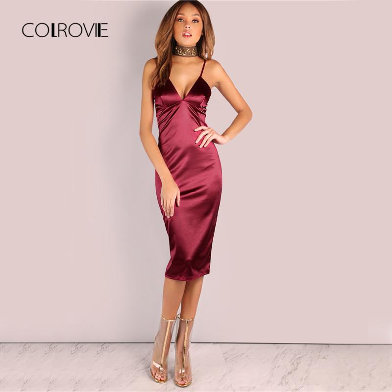 COLROVIE Burgundy Satin Party Club Dress Deep V Neck Women Summer Dresses Sexy Bodycon Strap Ruched Ladies Midi Slip Dress