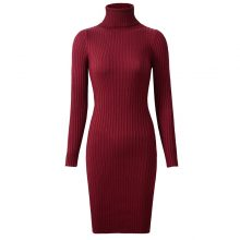 Neophil 2019 Womens Winter Knitted Sheath Turtle Neck Dresses Long Sleeve Bodycon Solid Basic Sexy Mini Dresses Vestidos D1801