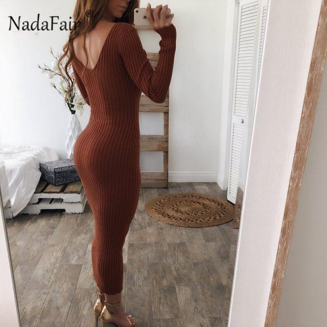 Nadafair knitted sweater bodycon long winter dresses women autumn v neck long sleeve sexy midi dresses elastic slim party dress