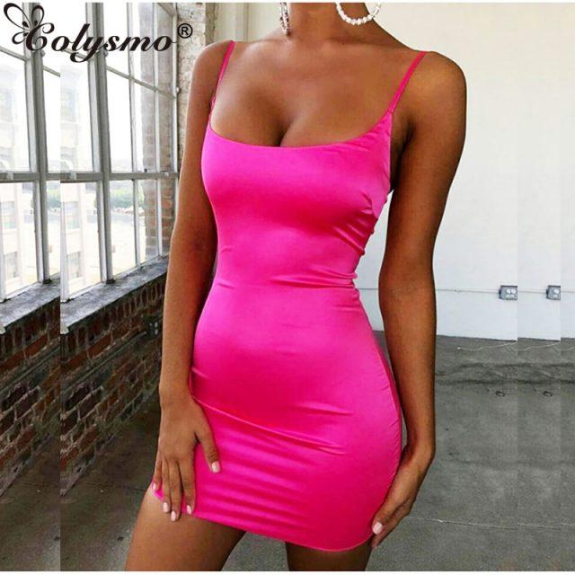 Colysmo Stretch Satin Mini Dress Women Sexy Straps Slim Fit Bodycon Party Dress Neon Green Pink Dress Dual-layered Robe Femme