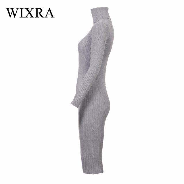 Wixra Warm Women Autumn Winter Sweater Knitted Dresses Slim Elastic Turtleneck Long Sleeve Sexy Lady Bodycon Robe Dresses