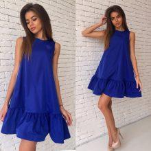LOSSKY Women Summer Dress Fashion Ruffled A-line Dresses For 2018 Sleeveless Mini Short Sexy Beach Dress Blue Red Party SunDress