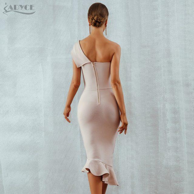 Adyce 2019 New Summer Women Bandage Dress Vestidos One Shoulder Sleeveless Ruffles Nightclub Dress Celebrity Evening Party Dress